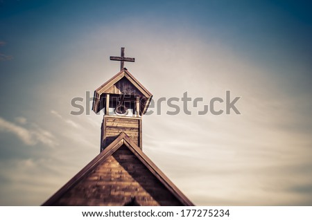 Rural wood church cross  #177275234