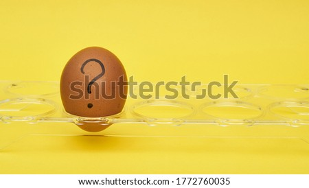Chicken eggs in an egg stand. Tray for eggs. Half an egg, egg yolk, shell. Emotions and facial expressions on eggs, a question mark on an egg.  #1772760035