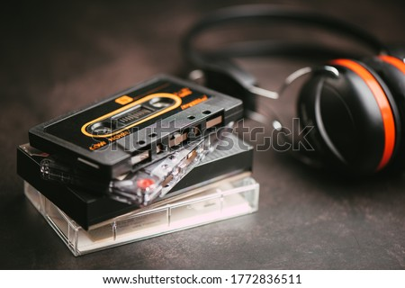 The vintage audio cassette tape, analog magnetic tape format for audio recording and playback. Royalty-Free Stock Photo #1772836511