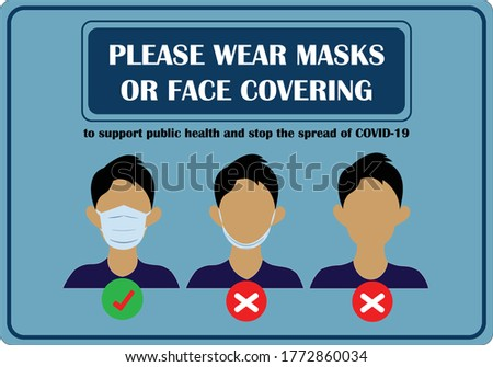 Wear face mask notice. Wear face mask sign and symbol vector. Please wear masks or face covering. Safety sign. Mask sign. how to wear mask. Face covering sign. Safety signs during COVID-19 virus. Safe #1772860034