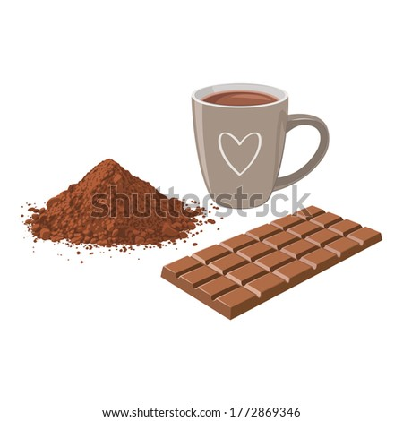 A cup of hot chocolate with chocolate bar and cocoa powder. Royalty-Free Stock Photo #1772869346