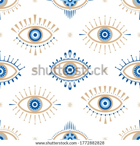 Evil eye vector seamless pattern. Magic, witchcraft, occult symbol, line art collection. Hamsa eye, magical eye, decor element. Blue, white, golden eyes. Fabric, textile, giftware, wallpaper. #1772882828