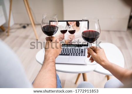 Virtual Wine Tasting Using Laptop. Online Party And Drinks #1772911853