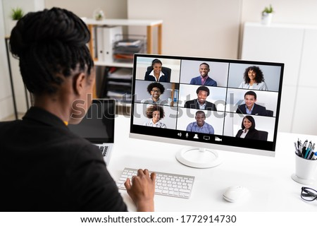 African Woman Video Conference Business Call On Computer Screen Royalty-Free Stock Photo #1772914730