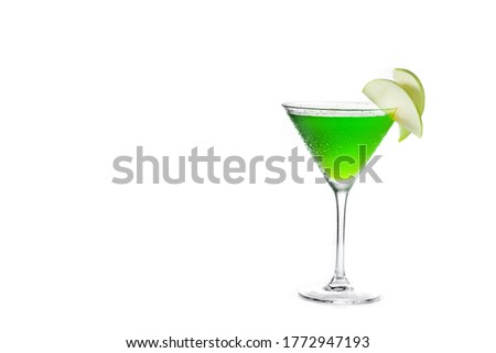 Green appletini cocktail isolated on white background.Copy space #1772947193