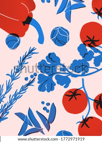 Broccoli, tomato, pepper, basil ingredients art. Vegetables poster in flat style. Red blue print in pink background. Healthy food illustration. Motivation poster decor wall kitchen.
