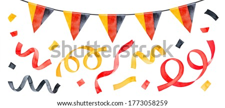 Water color collection of hanging string bunting with tricolor triangular flag and festive colorful confetti. Hand drawn watercolour on white, isolated clip art details for creative design decoration.