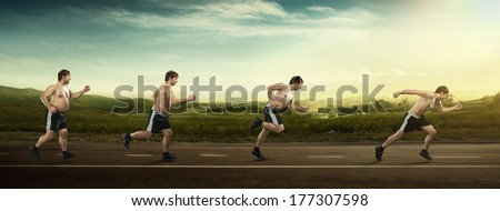 Running man at first full in the end of thin on road. Concept weight loss, exercise #177307598