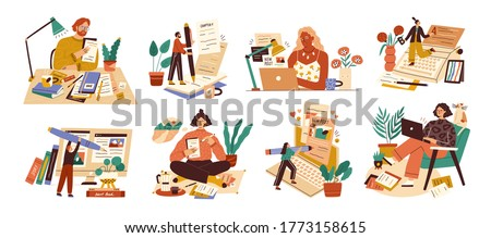 Set of professional journalist, copywriter, content manager, blogger with laptop, pencil, book. Concept of computer work, text typing, posting. Cartoon flat vector illustration on white background #1773158615