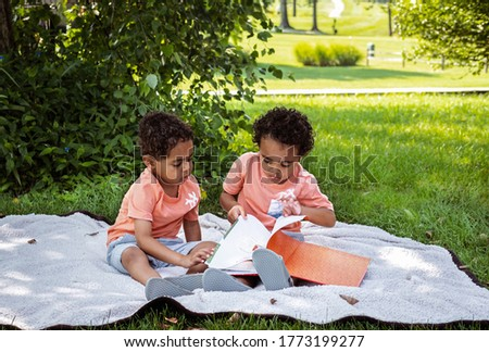 African-American three year old twin boys sit on blanket in park turning pages of book in front of them