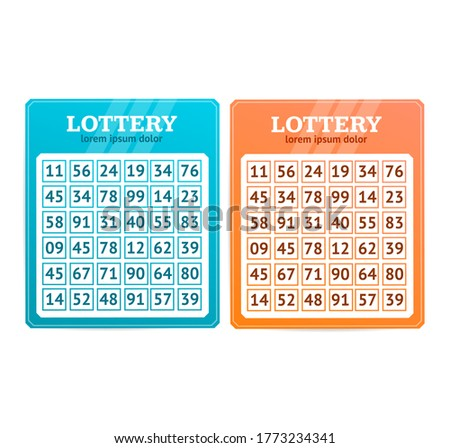 Red and Blue Lottery Blanks Table Set Leisure Activity Game Play Cards. illustration of Bingo Lotto Concept