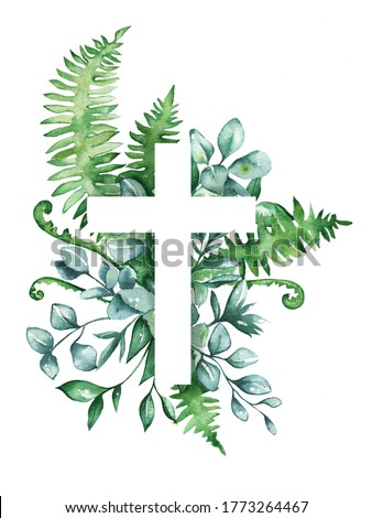 Cross with leaves, eucalyptus, herbs. Baptism, easter, church, Christianity
