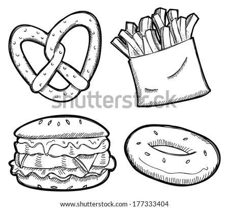 set of unhealthy food