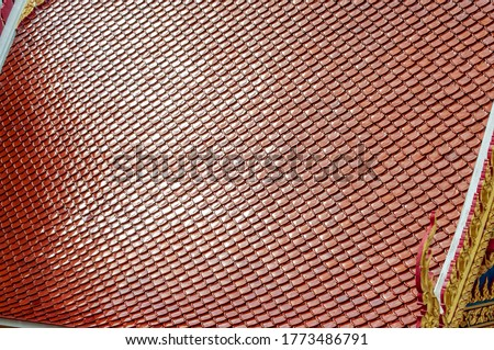 Roof background, Traditional Thai style roof in temple, Thailand.red roof tiles texture background #1773486791