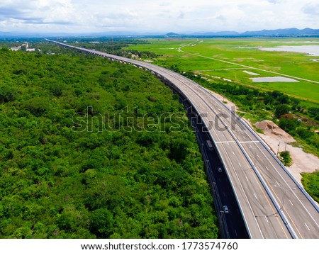 Aerial view intercity Motorway Nakhon Ratchasima - Bangpa In, new Amazing road of Thailand, Motorway during construction at Lamtakong Dam area is the most beautiful and unseen point of this road. #1773574760