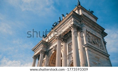 Porta Garibaldi, also known as the Porta Comasina, is a city gate located in Milan, on the old road to Como. This Neoclassical arch was built to commemorate the visit of Francis I of Austria in 1825 Royalty-Free Stock Photo #1773593309
