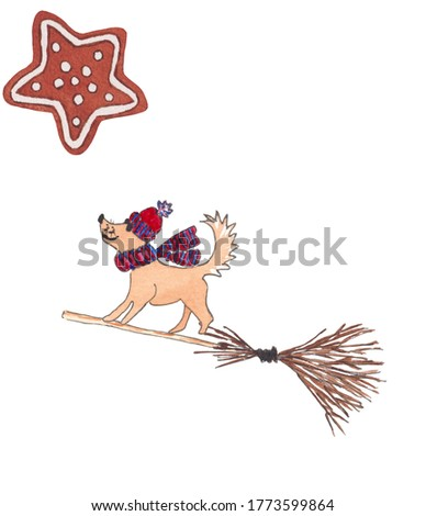 Watercolor Christmas illustration of  dog, broom and gingerbread cookie. red and blue knitted cap and scarf.