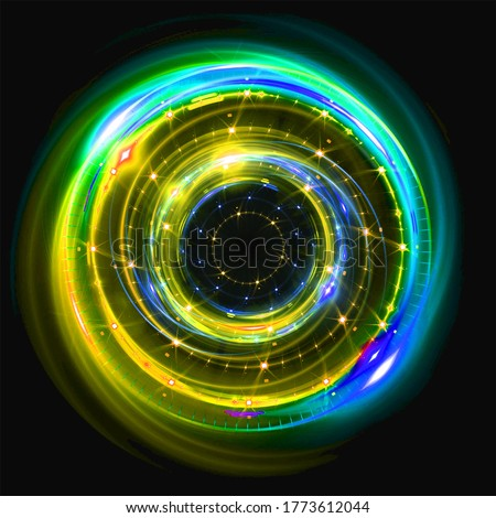 Luminous swirls. Elegant light circle. Particles of sparks. Space tunnel. Brilliant jellyfish. Colorful ellipse. Glint sphere #1773612044