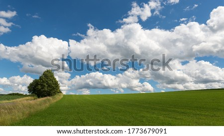 Impressive sky with cumulus clouds over a rural landscape. Germany, Hessen near Kirtorf  Royalty-Free Stock Photo #1773679091