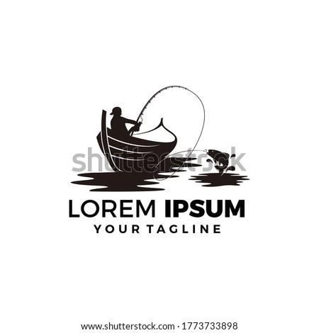 Modern fishing logo. Logo for fisherman. fish on a fishing hook illustration. fish on the rod illustration.
