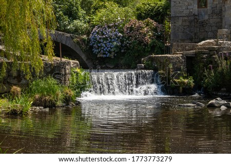 Beautiful waterfall, stream, willow tree and old stone bridge. Rural landscape in Portugal in summer. #1773773279