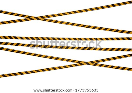 Black and yellow lines of barrier tape prohibit passage. Barrier tape on white isolate. Barrier that prohibits traffic. Warning tape. Danger unsafe area warning do not enter. Concept of no entry Royalty-Free Stock Photo #1773953633