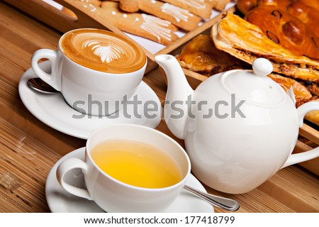 Beautiful cookie and bakery with cup of coffee and tea #177418799