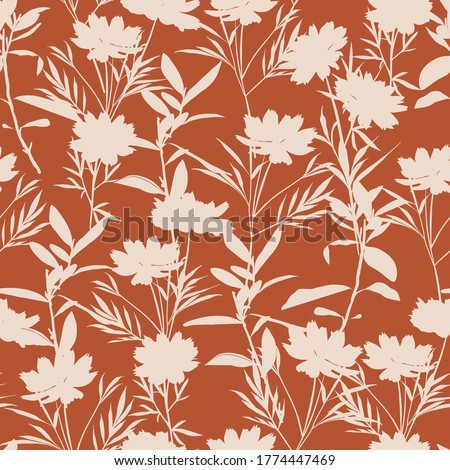 Retro silhouette meadow flowers seamless pattern in vector EPS10, Retro style design for fashion , fabric,web, wallpaper ,wrapping and all prints on vintage brown background  Royalty-Free Stock Photo #1774447469