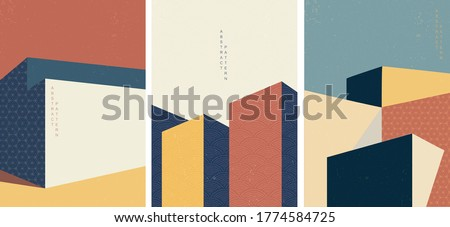 Architecture background with Japanese pattern vector.Geometric elements with abstract modern illustration template. Royalty-Free Stock Photo #1774584725
