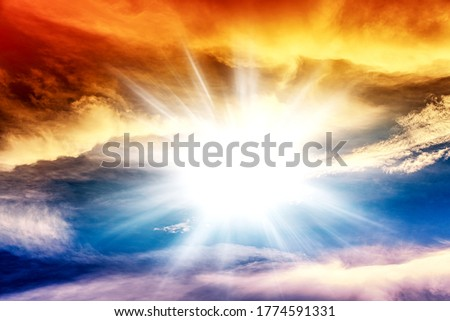 Colorful sky and sunrise. Natural landscape of the atmosphere Royalty-Free Stock Photo #1774591331
