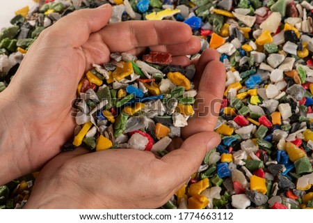 Close-up of plastic polymer granules Royalty-Free Stock Photo #1774663112