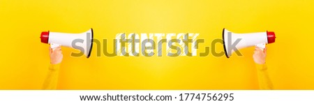 megaphones and inscription contest on yellow background, panoramic image Royalty-Free Stock Photo #1774756295