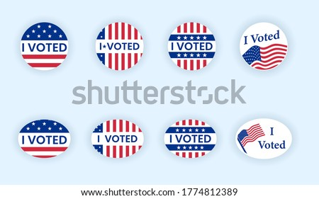 I voted sticker collection. Vote badges on election day. Circle vote sticker or label. US, USA, american election, voting sign. I voted quote. Responsible voting badge or pin. vector illustration #1774812389