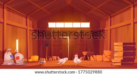 Barn interior with chicken, farm house inside view. Wooden ranch with haystacks, sacks, fork, huge gate and window under roof. Traditional countryside storehouse building Cartoon vector illustration Royalty-Free Stock Photo #1775029880