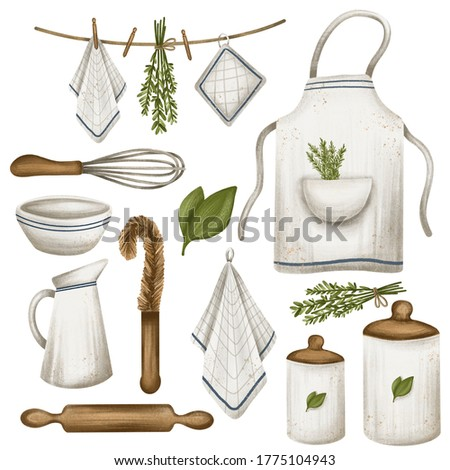 Eco kitchen. Digital illustration. Clip art. Eco style. No plastic