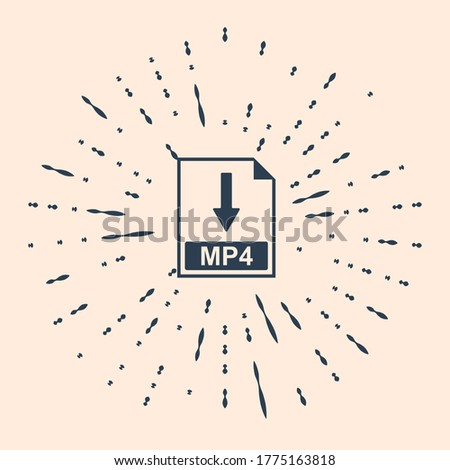 Black MP4 file document icon. Download MP4 button icon isolated on beige background. Abstract circle random dots. Vector Illustration