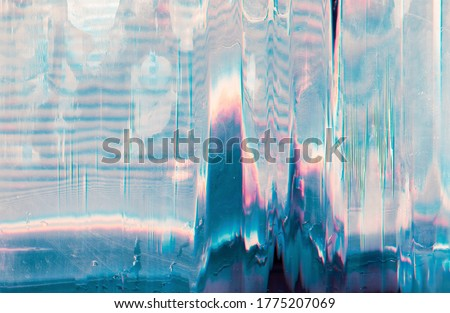 Holographic background. Glitch error. Pastel pink blue color gradient noise on scratched screen. Royalty-Free Stock Photo #1775207069