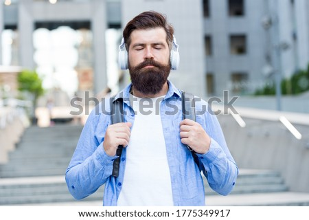 Experience relaxing mood with zen sound. Bearded man listen to music with closed eyes. Meditation sound. Hi-Fi stereo sound. Soothing music. New technology. Modern life. Sound so good you cant resist. #1775349917