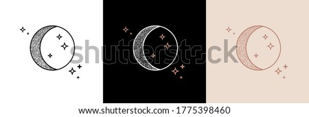 Mystic moon linear logo icon. For cosmetics, beauty, tattoo, spa, manicure, jewelry store. Antique style hand drawn art sun and crescent moon. Boho chic tattoo design. Mystical drawing.  #1775398460