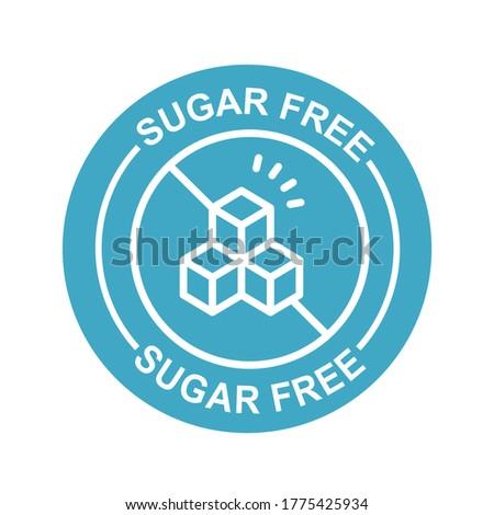 Blue sugar free label, icon.