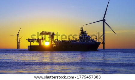 Beautiful sunset at the North Sea Royalty-Free Stock Photo #1775457383
