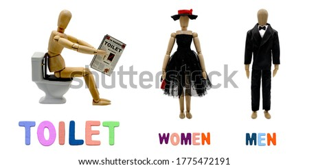 TOILET SIGN WITH MANEKIN ON TOILET BOWL AND MAN WOMAN WITH COLORED WRITING. USABLE FOR TOILET SIGNBOARD.