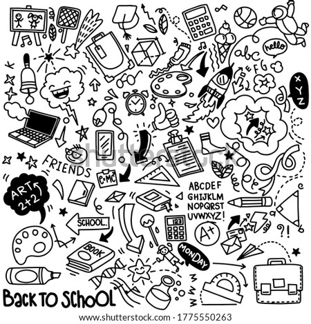 illustration, School clip art. doodle school icons and symbols. Hand drawn education objects