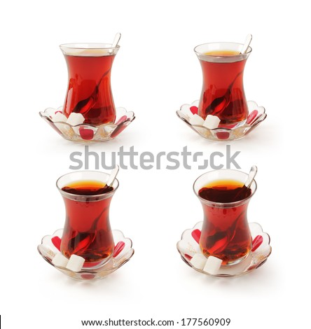 Turkish tea cup set with clipping path.