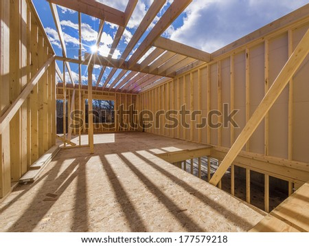 New construction of a house/Framed New Construction of a House/Building a new house from the ground up  #177579218
