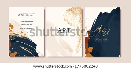Set of card with abstract shape, splash gold. Wedding watercolor concept. Navy blue poster, invite. Vector decorative greeting card or invitation design background #1775802248