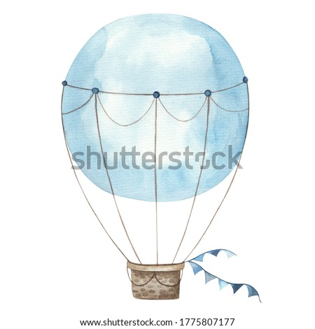 colorful blue balloon, children's illustration isolated on white background watercolor illustration on white background