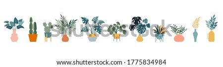 Urban jungle, trendy home decor with plants, cacti, tropical leaves in stylish planters and pots. Vector illustration #1775834984