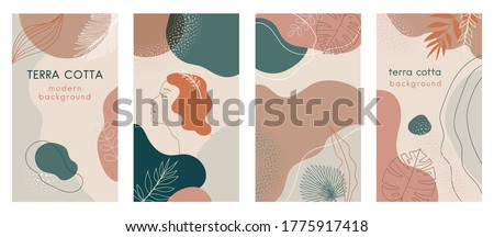 Social media stories set of abstract modern backgrounds with terra cotta pastel color combinations, shapes and tropical palm, monstera leaves, one line women face logo icon. For advertising, branding Royalty-Free Stock Photo #1775917418