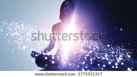 Mindfulness meditation concept. Meditating young woman. Yoga. Concentration. Royalty-Free Stock Photo #1775921357